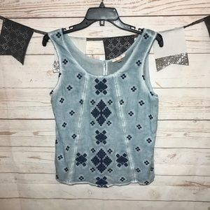 Skies Are Blue Stitch Fix Embroidered Tank Top M